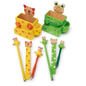 Portamatite in legno colorato Gatto e rana con accessori Set da 2