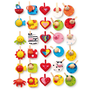 Memo-clip mollette in legno colorate Set da 30