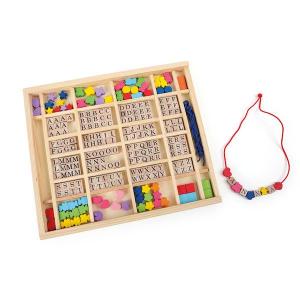 Lettere e perline da infilare nella cassetta legno - ABC Legler 10175