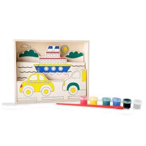 Disegno 3D in legno da colorare con pittura Traffico Legler 10181