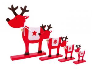 Alci decorative Stelle in legno e tessuto addobbi e decorazioni per Natale Set da 4