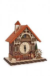 decorazione Natale Carillon Periodo Invernale in legno con luci a Led