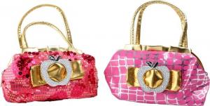Set da 2 borsa/borsetta per bambine glamour con brillanti ed applicazioni