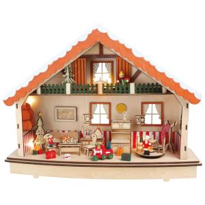 Carillon e Lampada Casetta in legno giorni dell'avvento e Natale