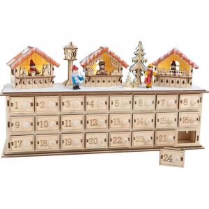 Calendario dell'Avvento in legno Mercatino di Natale