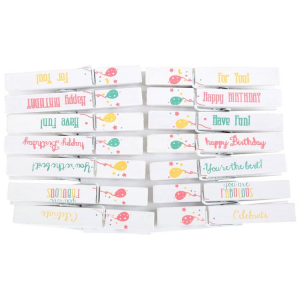Mollette da decorazione frasi per feste compleanno 28 pezzi