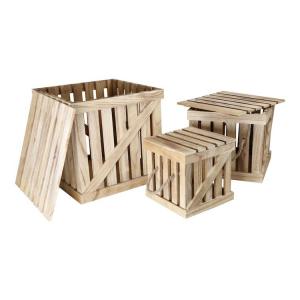 Casse Cassette in legno con coperchio set 3 pezzi