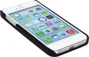Custodia iPhone 5 in similpelle colore nero con taschino per carta di credito