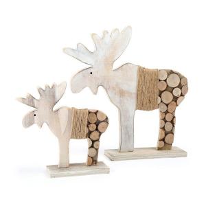 Alce decorativo con cerchi di tronco Natale 2 pezzi Legler 10208