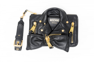 Clutch Biker Moschino in Pelle Nera