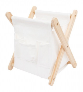Contenitore box pieghevole portariviste in legno e tessuto