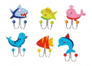 Set 6 Appendiabiti Animali marini in legno