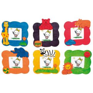 Cornice porta foto colorato in legno Animali per bambini Set 6 pezzi