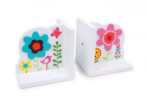 Set 2 Reggilibri in legno con applicazioni floreali per bambini arredo cameretta
