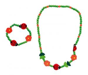 Set gioielli collana e bracciale Coccinella con componenti in legno  per bambine