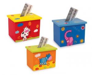 Salvadanaio scatola in legno Animali per piccoli risparmi bambini