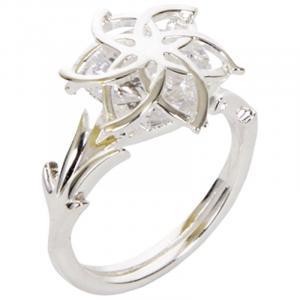 Anello Nenya in argento con incastrata pietra brillante diverse misure