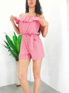 Tutina donna pantaloncino con scollo a barchetta e cintura a fascia in puro cotone prodotto realizzato in Italia TG unica