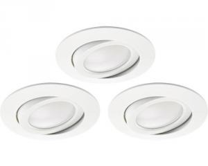 Set 3 faretti bianco 5w 3000k vetro opaco orientabili