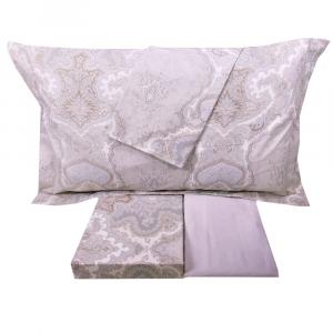 Set lenzuola matrimoniale 2 piazze MIRABELLO percalle SHERAZADE grigio