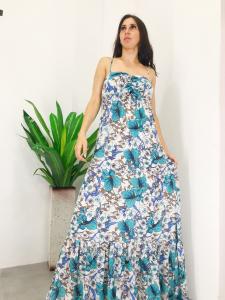 Abito donna lungo in fantasia floreale azzurra con spallina stretta e fiocco su décolte podotto realizzato in italia TG unica