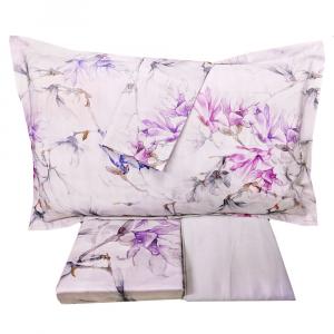 Set lenzuola matrimoniale 2 piazze MIRABELLO Irises in raso di cotone