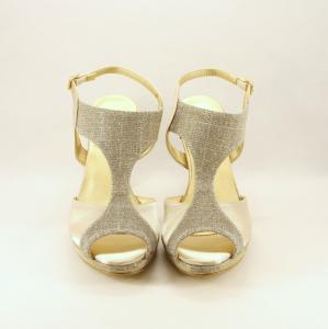 Sandalo cerimonia donna elegante oro glitter e cinghietta regolabile.