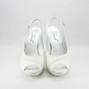 Sandalo sposa elegante da cerimonia in tessuto di raso avorio