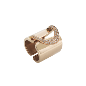 Anello D-Line band h.22 in oro rosa e diamanti