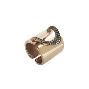 Anello band h.22 in oro rosa e diamanti brown