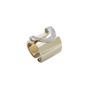 Anello D-Line band h.22 in oro giallo pallido e diamanti