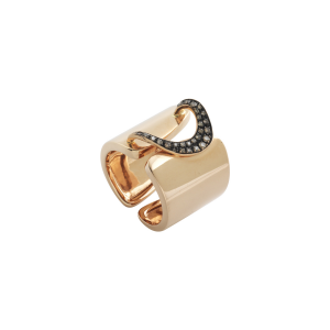 Anello band h.18 in oro rosa e diamanti brown