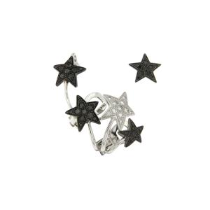 Mono orecchino Etoiles in oro bianco, diamanti neri e bianchi