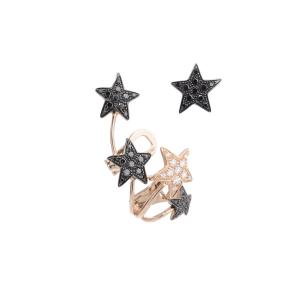 Mono orecchino in oro rosa, diamanti neri e bianchi