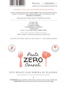 Ziti (Maccheroncini rigati) ZeroCereali con Farina di Platano. No Glutine - No Legumi - No Latticini