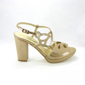 Sandali cerimonia donna in tessuto effetto vintage con tacco largo colore oro.