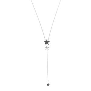 Girocollo Y-shape in oro bianco, diamanti neri e bianchi