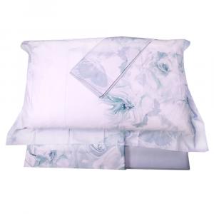 LA PERLA set lenzuola matrimoniale ADORABLE Raso di puro cotone floreale gesso
