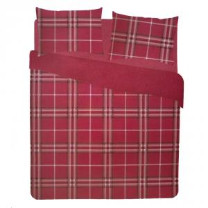 Set copripiumino singolo 1 piazza in puro cotone QUADRI rosso