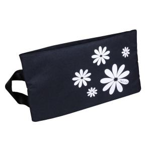 H.DUE.O - Hippy Flowers - Busta portascarpe nero con fiori bianchi cod. TBH-08