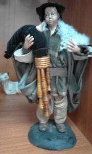 Statuina Pastore-Zampognaro terracotta vestita cm. 18 made in Italy