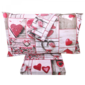 Set lenzuola matrimoniale 2 piazze in puro cotone SHABBY CHIC rosso