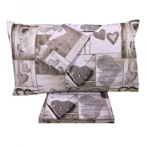 Set lenzuola matrimoniale 2 piazze in puro cotone SHABBY CHIC grigio