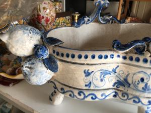 Centrotavola antico mod T blu decoro 600 con frutta