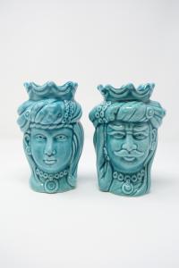 Coppia Teste di Moro in Ceramica