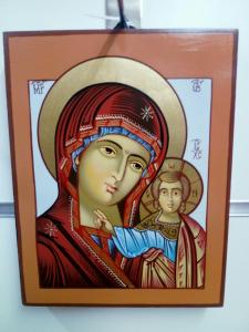Icona Bizantina  Madre di Dio di Kazan cm. 14 x 18
