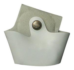 Porta manette aperto in cuoio Bianco