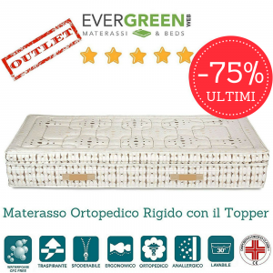 Materasso Singolo 80x190 Ortopedico Rigido in Waterfoam HR con Topper alto 30 cm tessuto Sfoderabile 4 Lati Anallergico ULTIMI 5