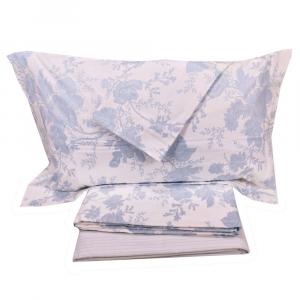 Set lenzuola matrimoniale 2 piazze Gabel flanella di cotone SOLEIL azzurro
