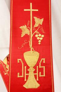 Stola Diaconale SD14 M0 Rossa - Faille Misto Lana